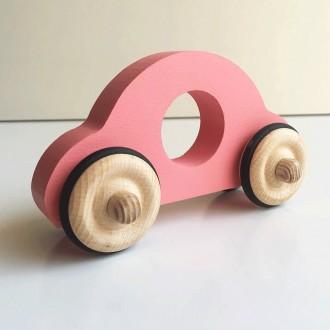 Petite voiture Anatole en bois - Rose