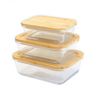 Set de 3 boîtes rectangulaires en verre/bambou - Boutique zéro déchet 74 - My eco House