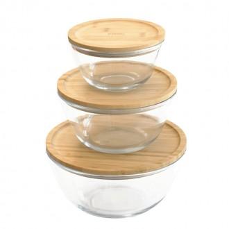 Set 3 Bols à mixer rond en verre et bambou - Boutique zéro déchet 74 - My eco House
