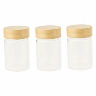 Set 3 pots 75 ml en verre et bambou - Boutique zéro déchet 74 - My Eco House