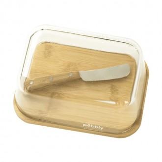 Set Beurrier en verre et bambou avec couteau à beurre - Boutique zéro déchet 74 - My Eco House