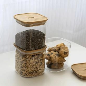 Boîte carrée en verre et bambou - 800 Ml - Boutique zéro déchet 74 - My Eco House
