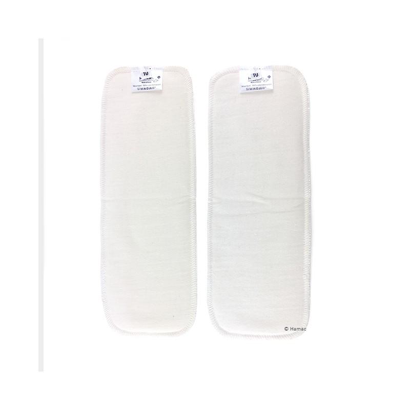 2 renforts d'absorption lavables en coton biologique