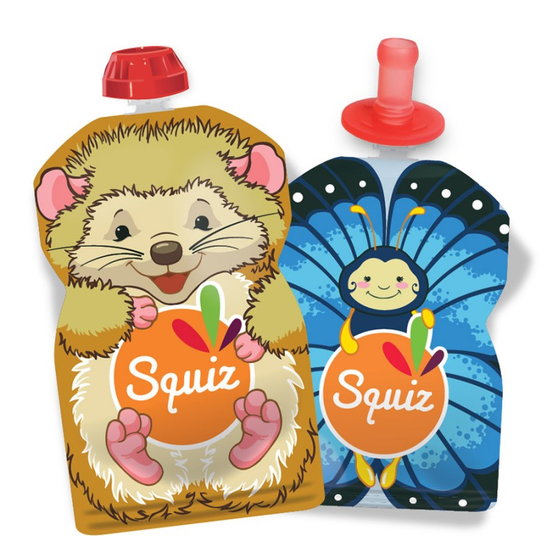 Lot de 2 gourdes réutilisables 130ml et 90ml + 1Squiz'top - Collection Nature
