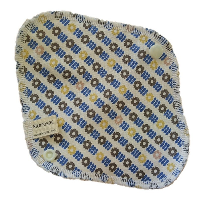 Protège slip lavable - floral bleu